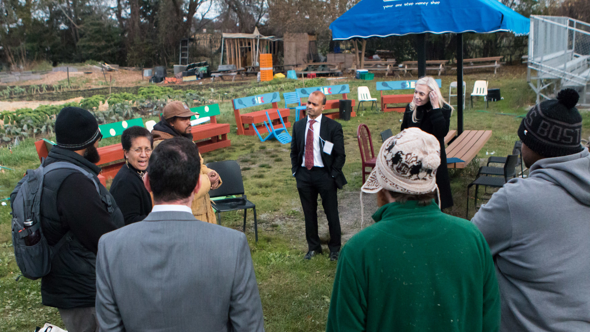 Governor Brainard touring an urban farm.