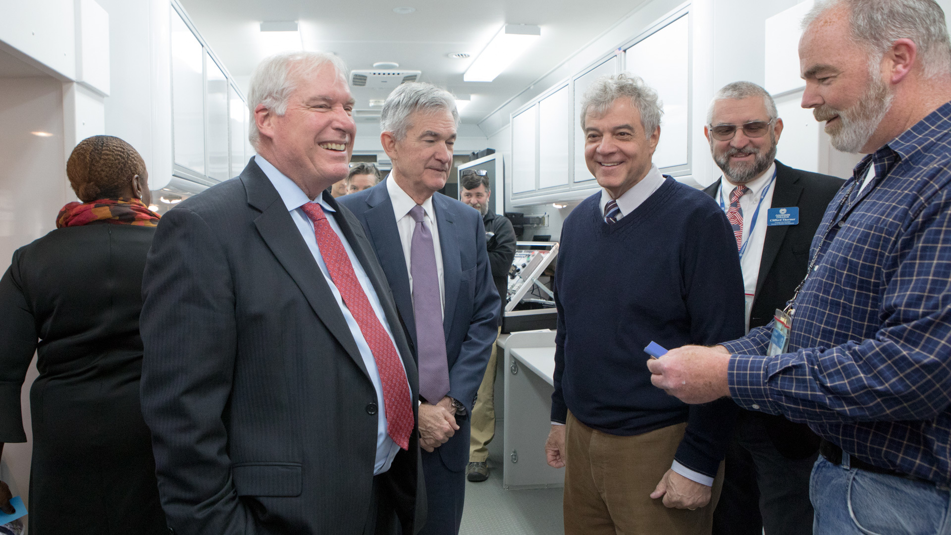 Eric Rosengren and Jerome H. Powell touring a mobile lab.